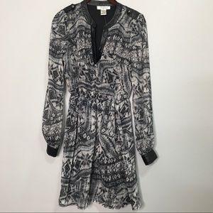 NWT Pinky 8 black sheer long sleeve dress